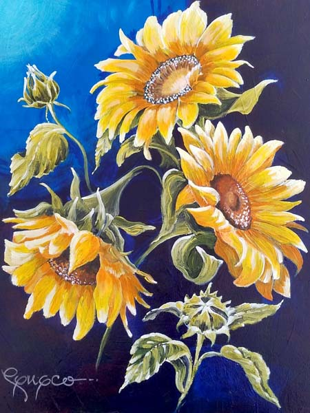 "Sun Flowers on Indigo - Acrylic - 16"" x 20"" (Sold)"